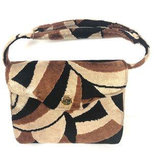 VINTAGE retro purse shag 70's hand bag